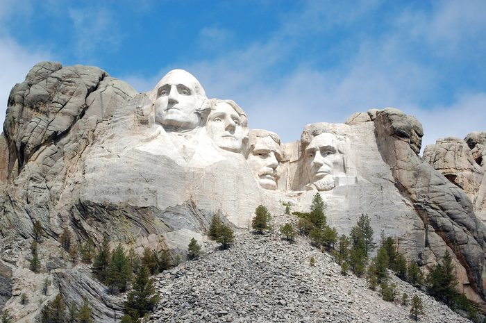 Brilliantly Sunlit View of Mount Rushmore National Monument
