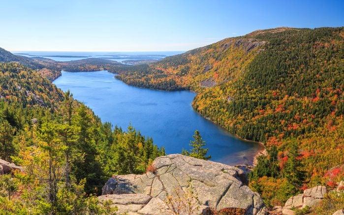 Jordan Pond in Autumn panorama, Acadia National Park