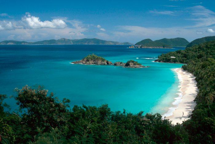 Trunk Beach, view from North Shore Road, Virgin Islands National Park, St. John, US Virgin Islands.