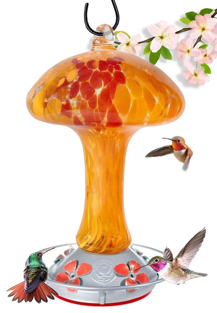 mushroom hummingbird feeder