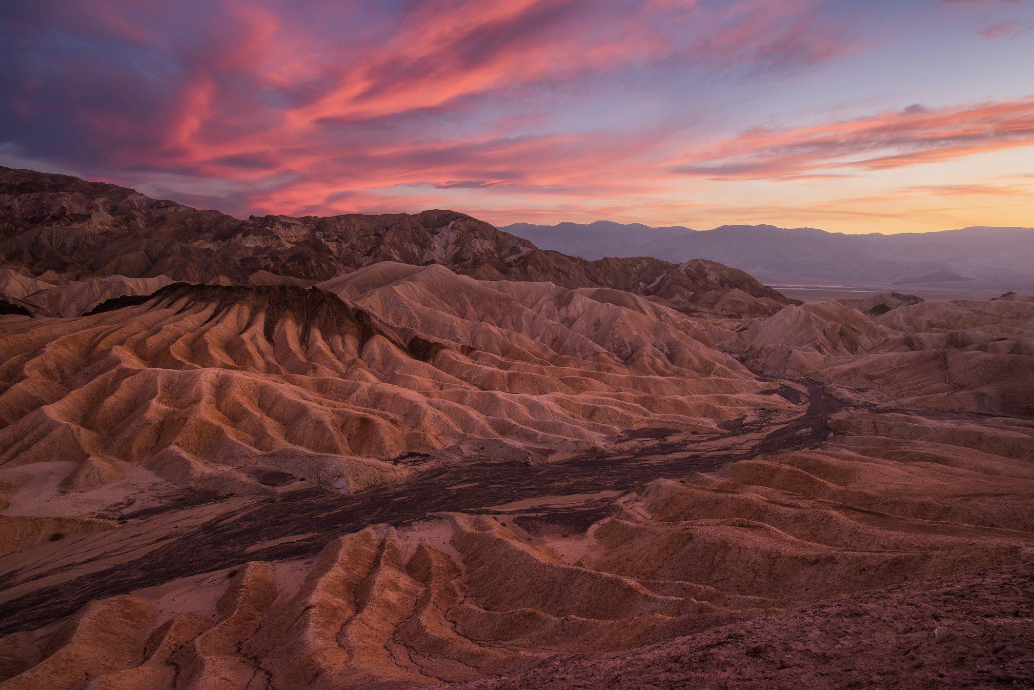 Zabriskie Point at sunset, Death Valley