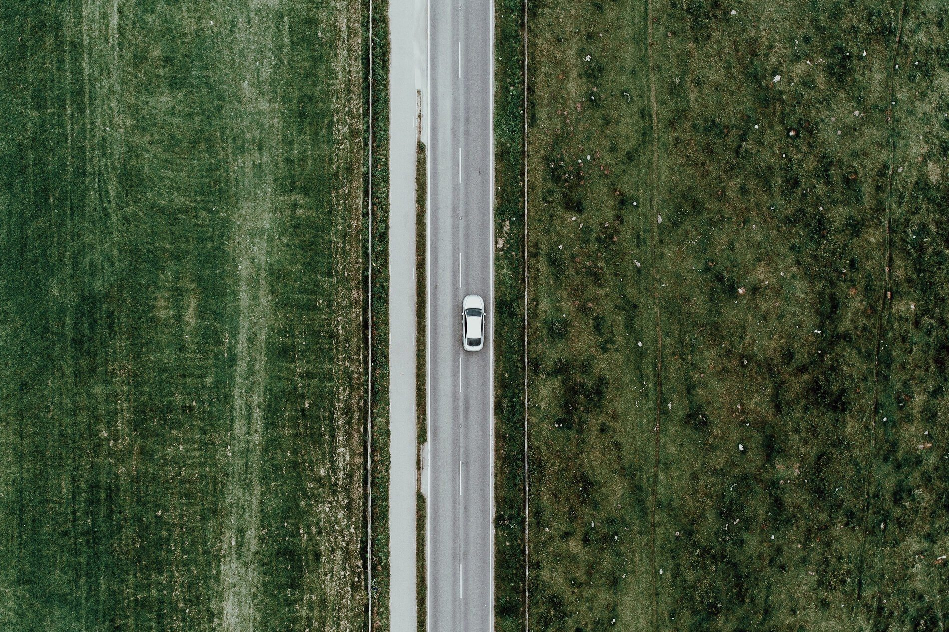 Aerial View Of Car On Road