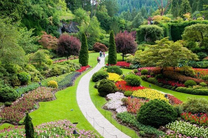 A scenic shot overlooking the Sunken Garden at Butchart Gardens.