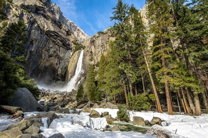 Lower Yosemite Falls at winter - Yosemite National Park, California, USA
