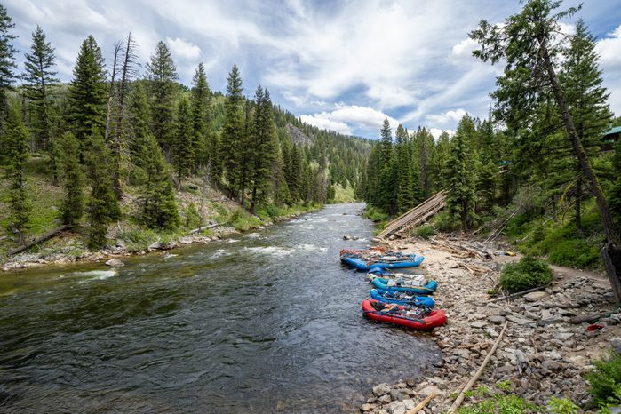 Rafting tours put in rafts down the ramp at Boundary Creek area of Idaho, a popular spot for starting a rafting trip in the Middle Fork of the Salmon River