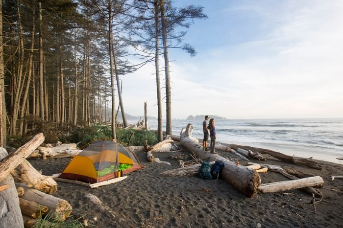 Backpacking along a beach