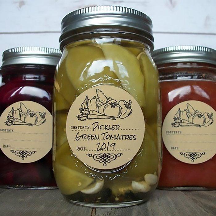 Vegetable or Fruit KRAFT paper canning labels, round vintage mason jar labels for veggie and fruit preservation, jam jelly jar stickers
