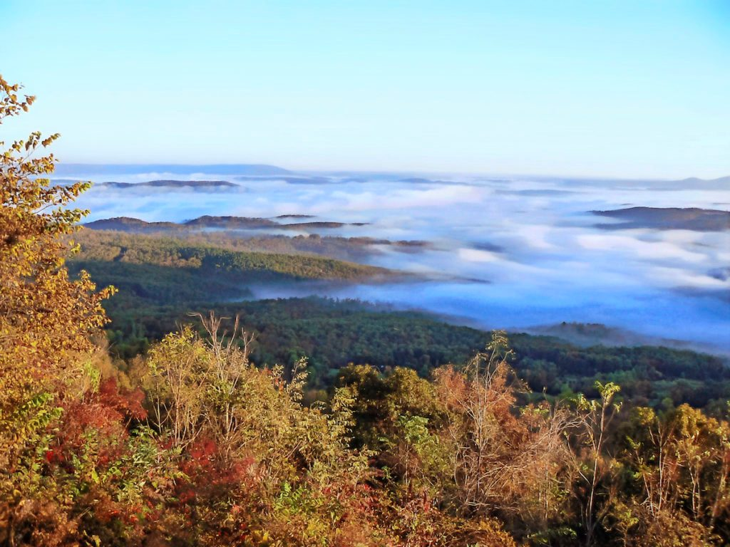 A scenic view of the Ozark Mountains in Arkansas