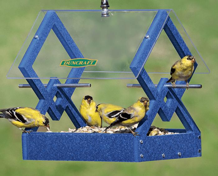 Golfinches flock to a hanging platform feeder.