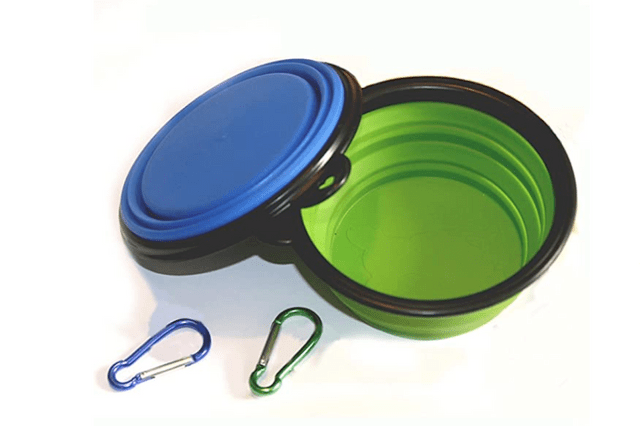Blue and green collapsible pet bowl