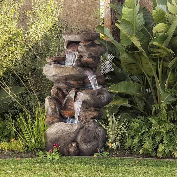 rock water fountain with light