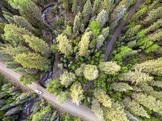 Aerial view of the San Juan National Forest