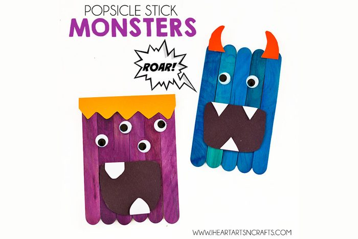popsicle stick monsters diy halloween craft for kids