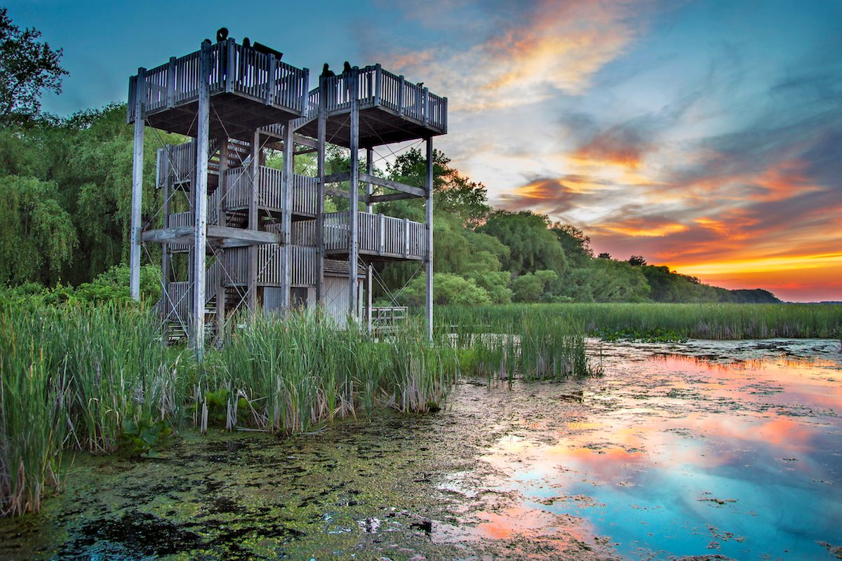 Lookout tower at the Marsh Boardwalk at Point Pelee National Park, Ontario, Canada.