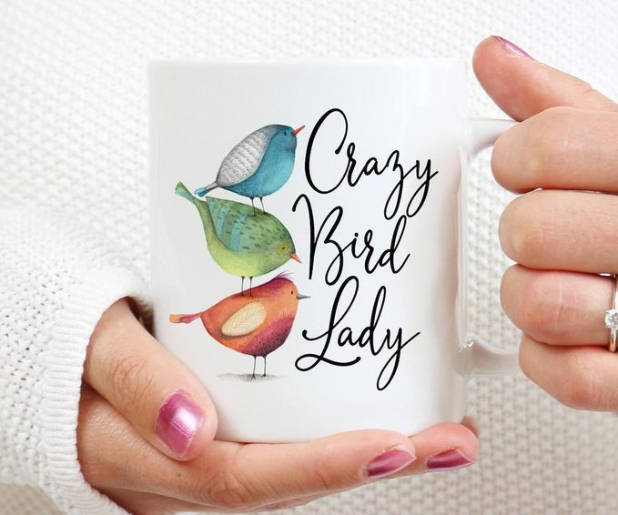 crazy bird lady coffee mug