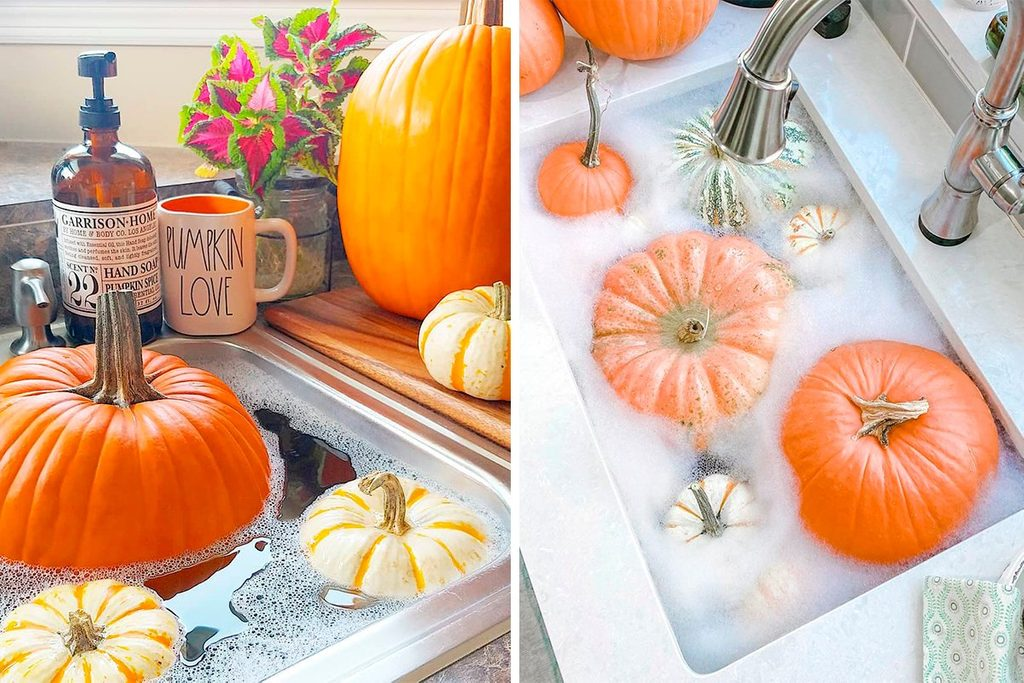How to preserve a pumpkin by soaking in solution