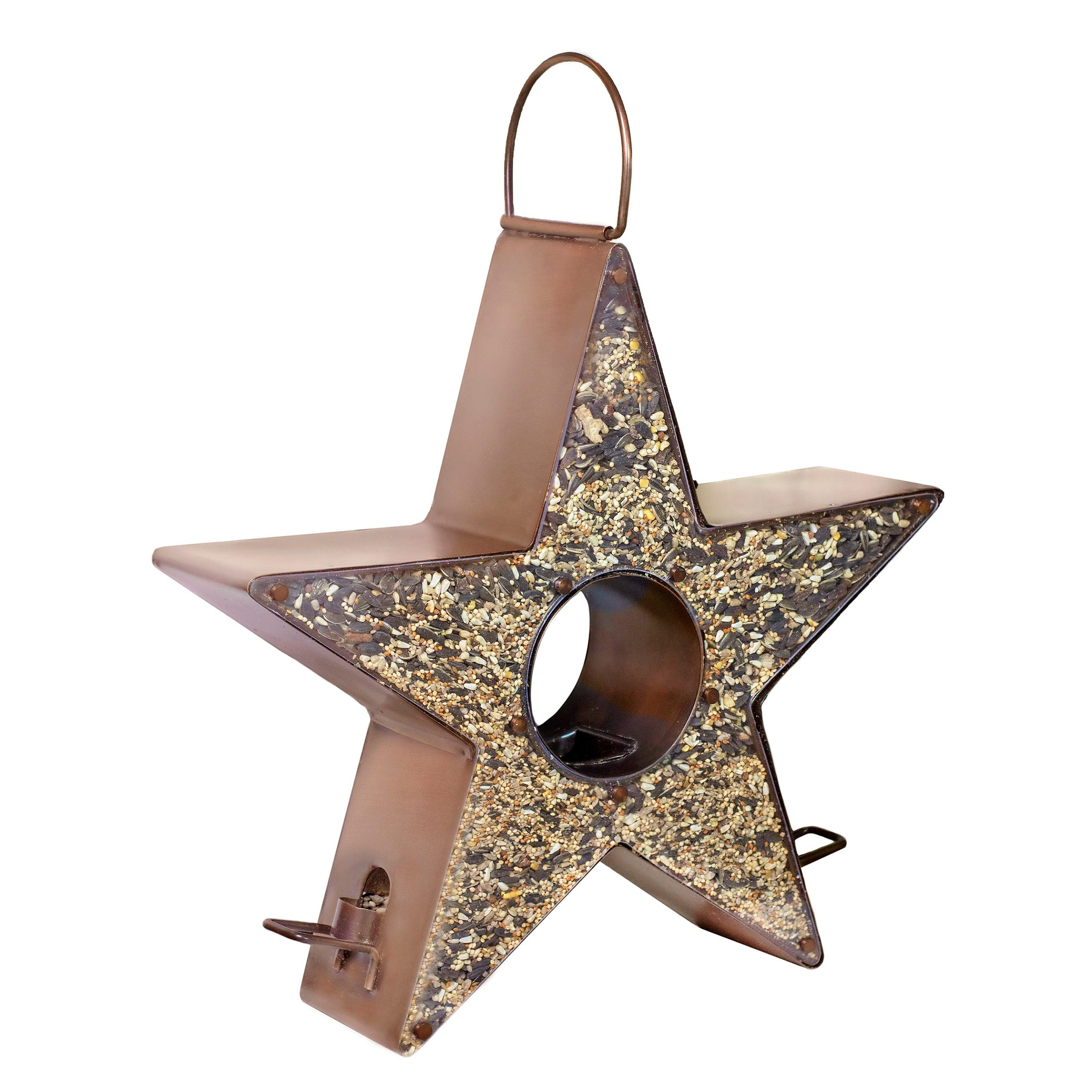 A star-shaped feeder with copper-colored sides and opening in the middle.