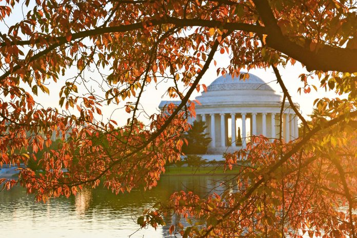 A fall view across the Tidal Basin to the Thomas Jefferson Memorial in Washington D.C.