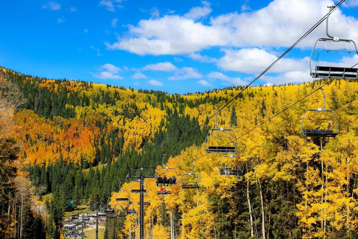 View of fall colors from ski lift in Sante Fe National Forest
