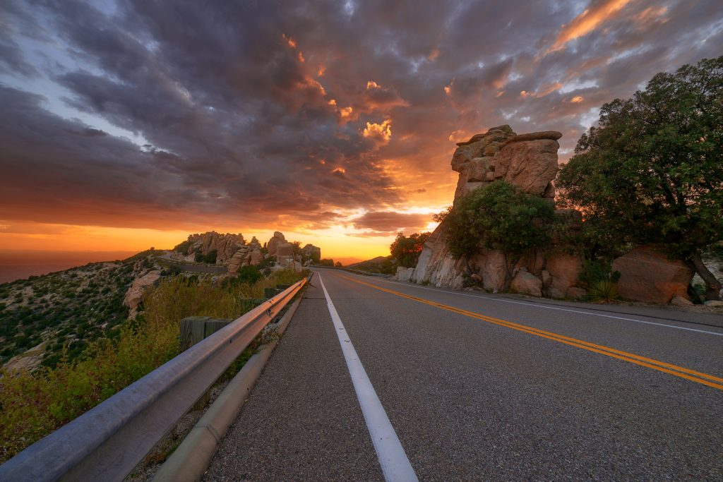 Colorful sunset sky over the Catalina Highway on Mt. Lemmon near Tucson, Arizona.