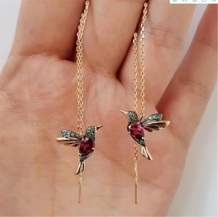 hummingbird dangly earrings