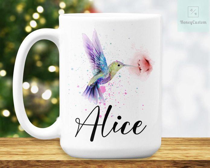 personalized hummingbird coffee mug