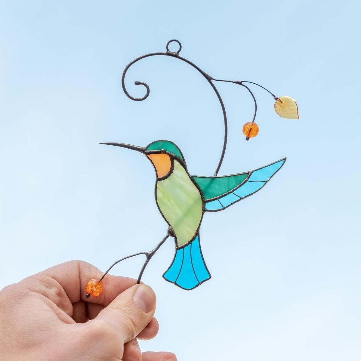 hummingbird stained glass window hanging