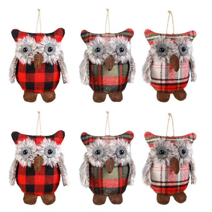 plaid owl ornaments