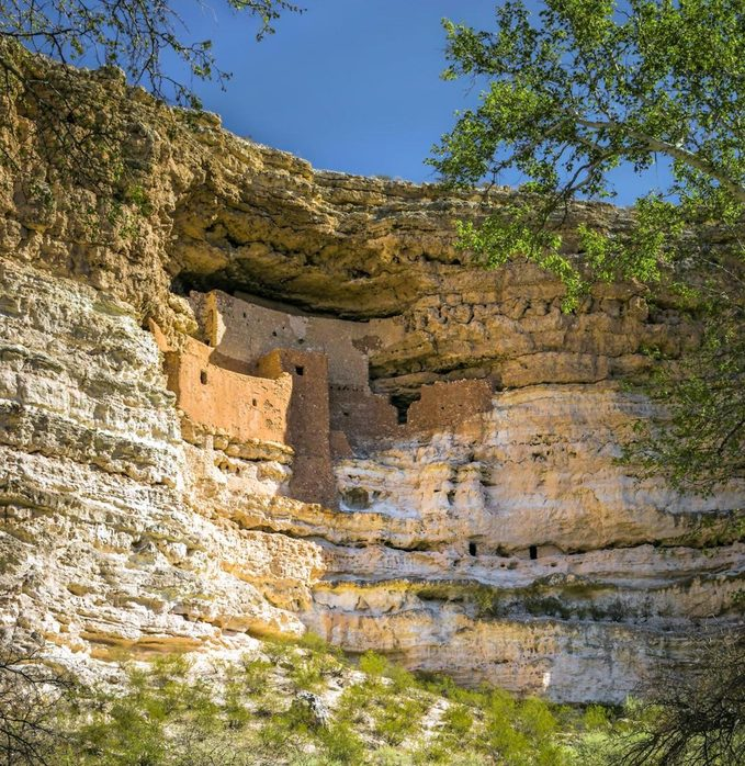 A view of Montezuma Castle National Monument in Verde Valley, Arizona