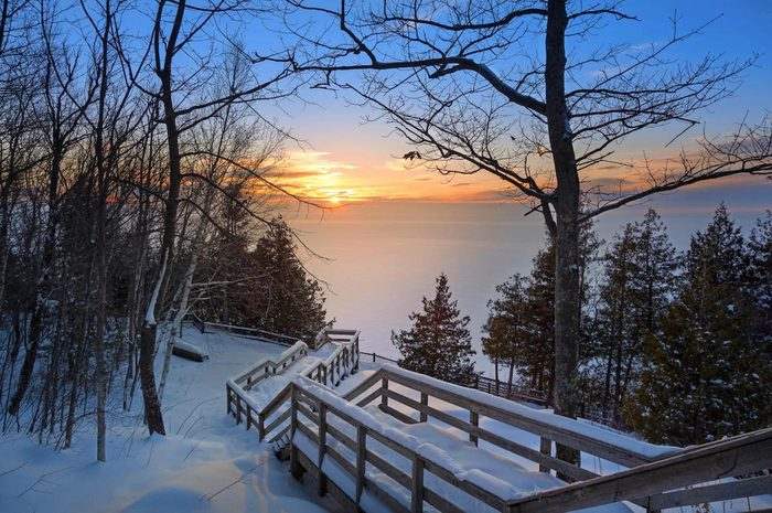 A sunset view of Door County in winter.