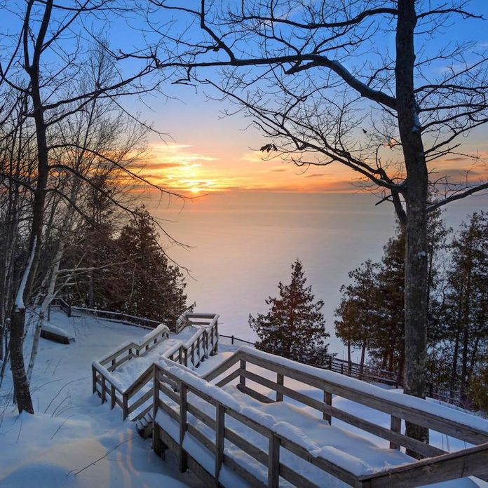 A sunset view of Door County in winter.