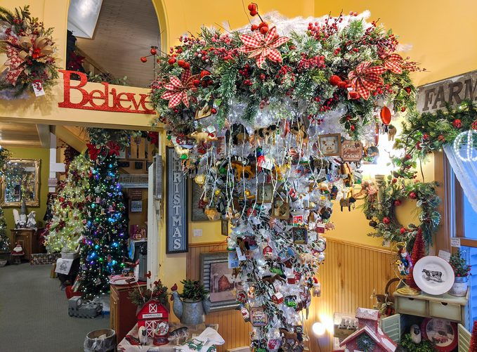 The interior of the Tannenbaum Holiday Shop in Door County