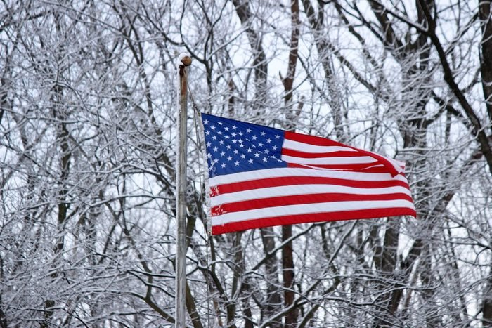 An American flag waving in front of snow-covered tree branches.