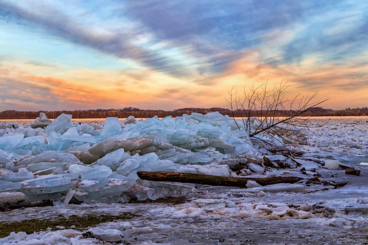 Ice jams on the shoreline of the Susquehana River in Pennsylvania.