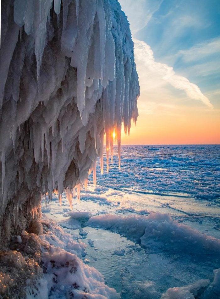 Winter ice caves along the shoreline of Lake Michigan