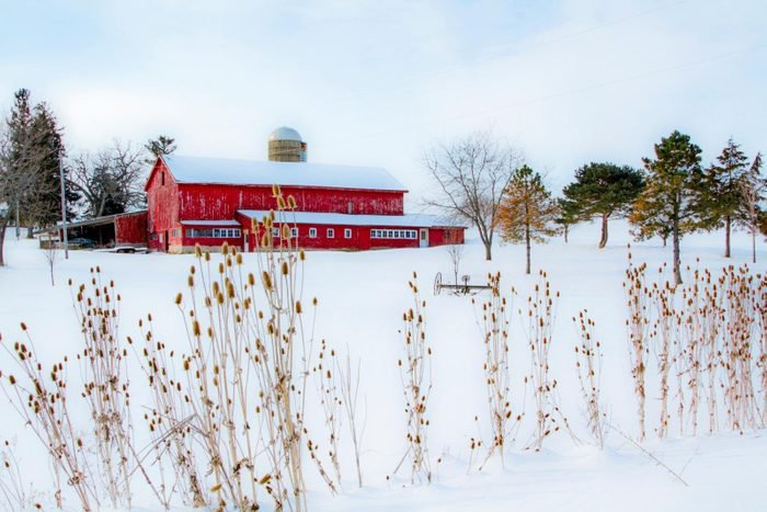 Red barn in winter cnow