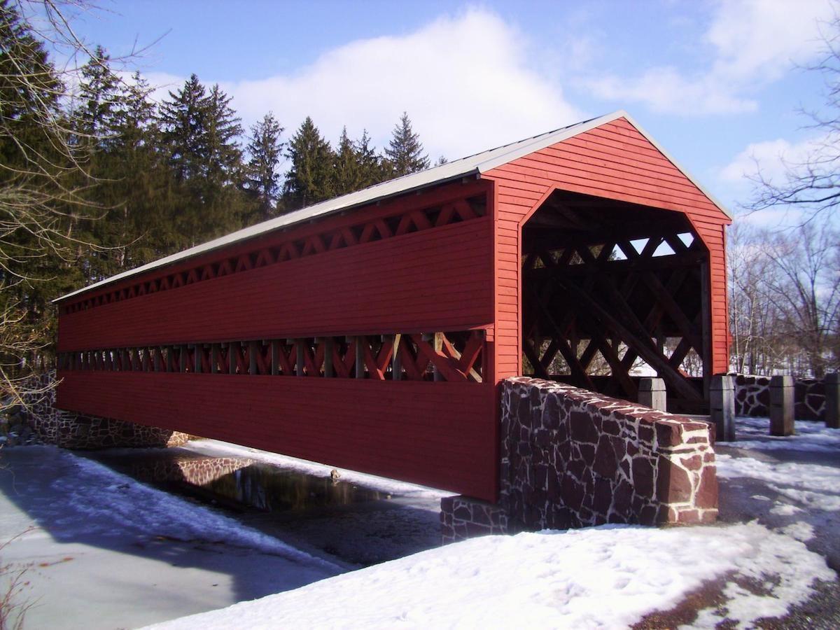 A red covered bridge in the snow near Gettysburg, Pennsylvania.