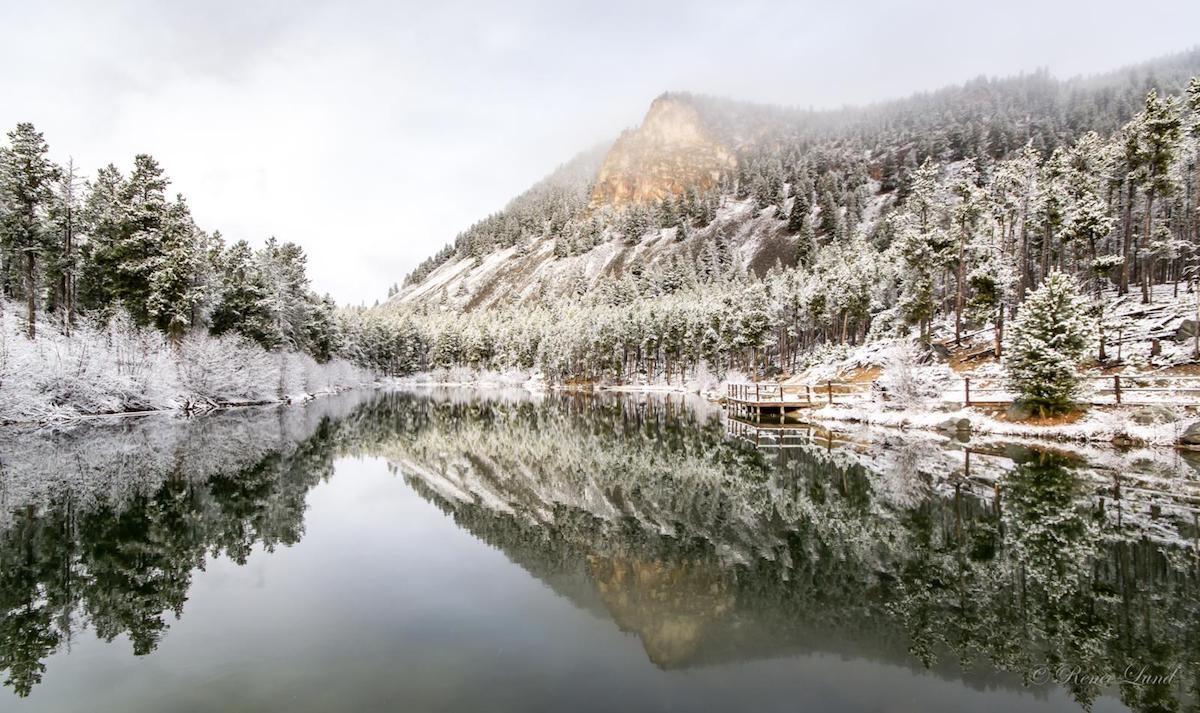 A beautiful winter scene of Wild Bill Lake in Montana.