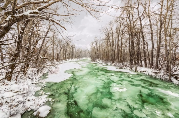 An icy river in Red Lodge, Montana