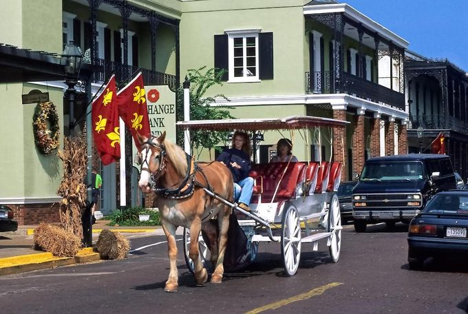 Horse-drawn carriage in Natchitoches, Louisiana