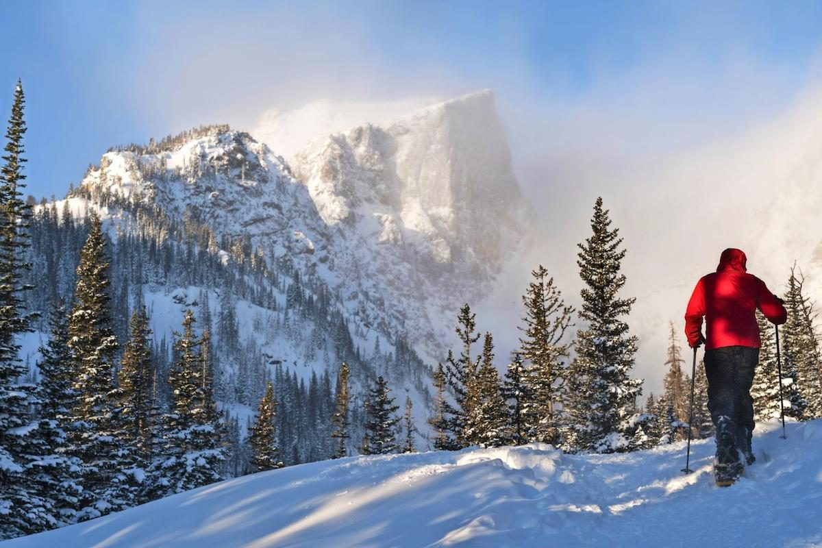 A wintry snowshoe trail in Rocky Mountain National Park