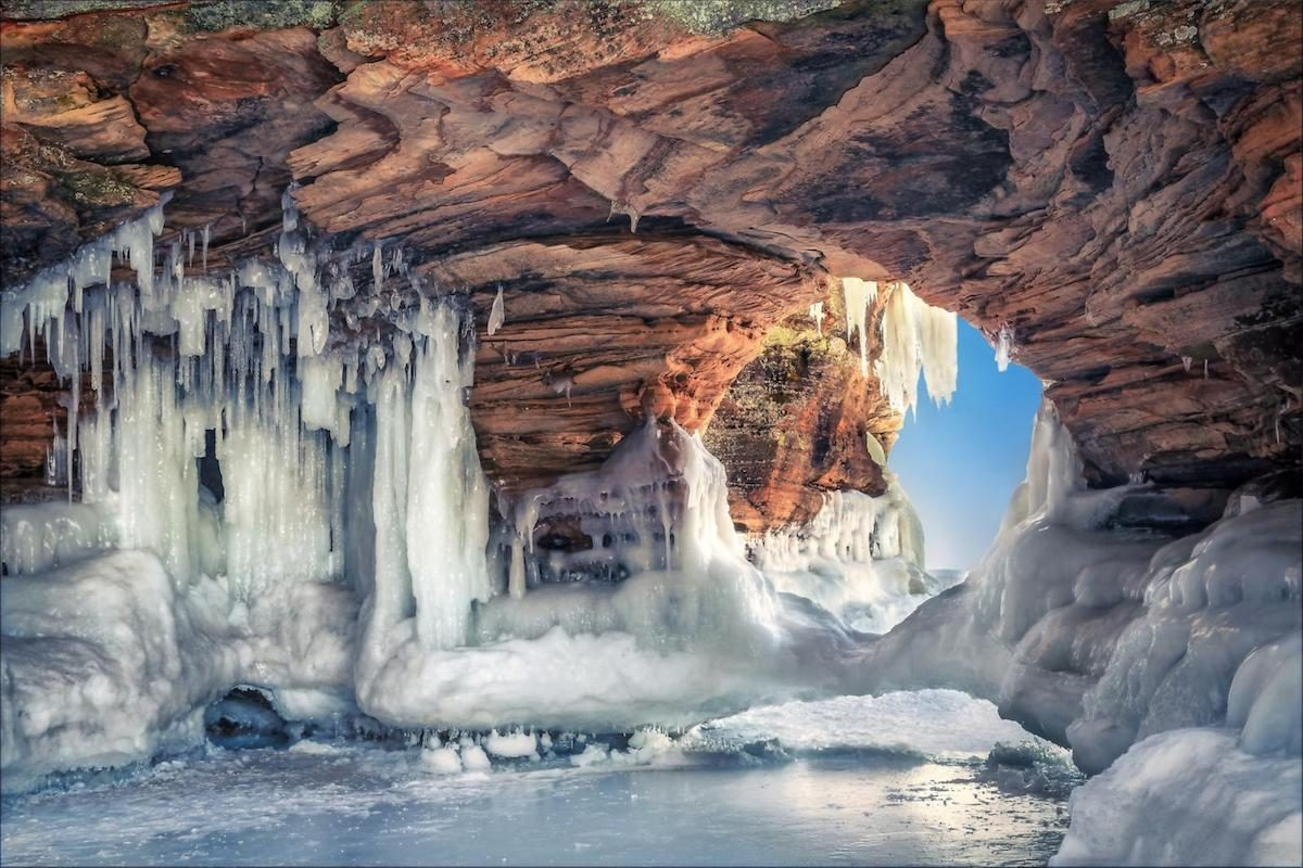 Stunning ice caves along the shoreline of Lake Michigan in northern Wisconsin.