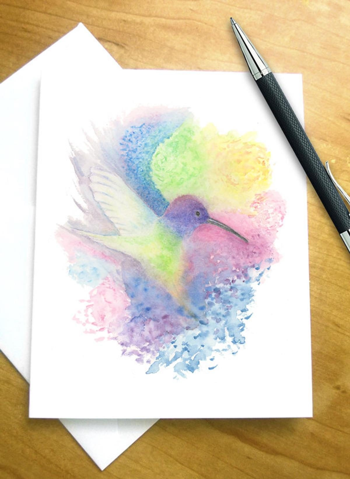 watercolor hummingbird card