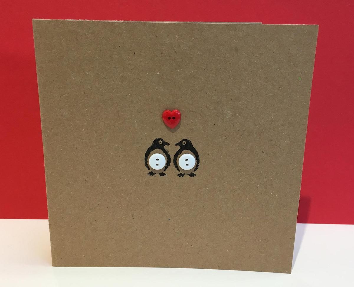 penguin valentine bird card