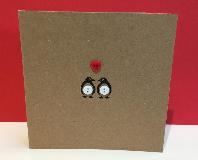 penguin valentine bird card