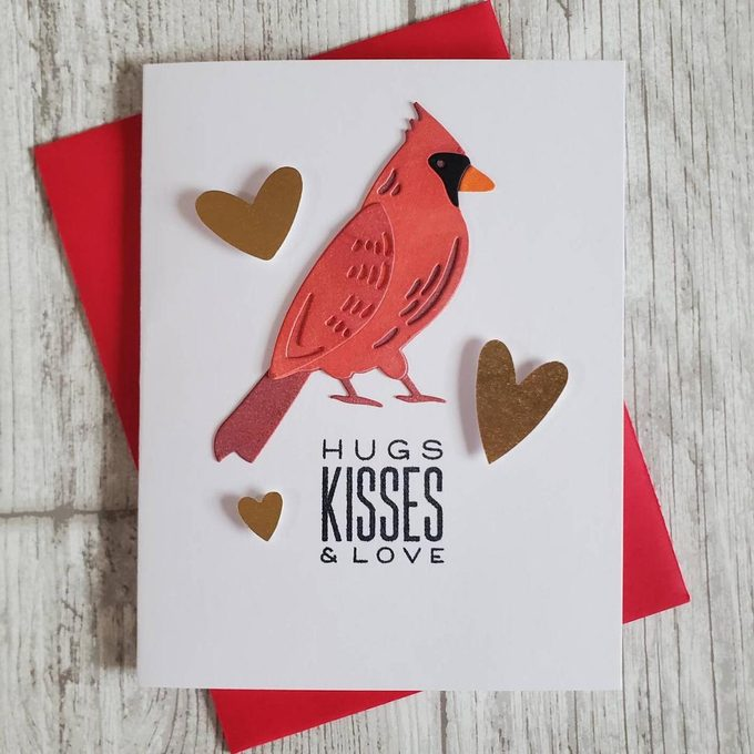 cardinal valentine bird card