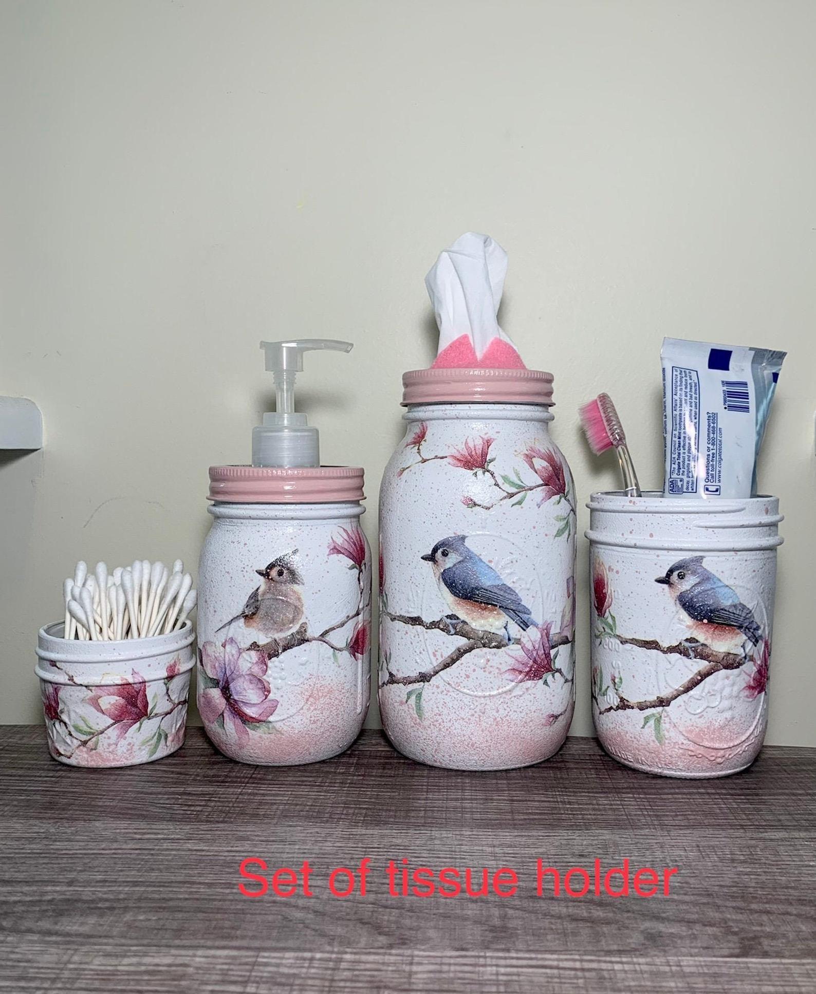 pink bird bathroom storage set