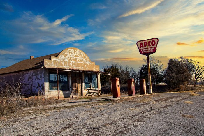 award winning photos general store and gas pumps by the side of the road in Oklahoma.
