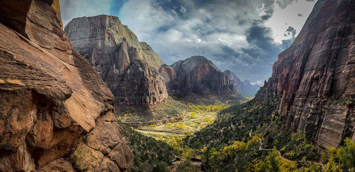 A vast vista through the mountains of a valley in Utah's Zion National Park.
