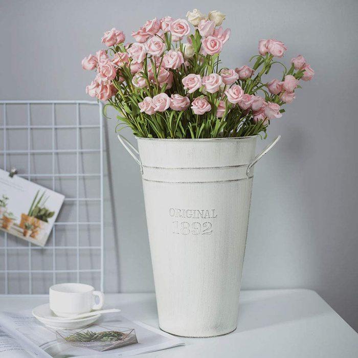 galvanized flower vases